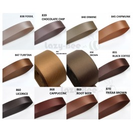 BROWN Tone 5 Meter 13mm 16mm 19mm Premium Quality Double Faced Satin Ribbon DIY Craft Wedding Bow Gift Wrap Reben